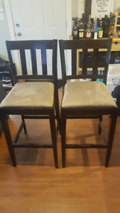 Two Bar Stools - Brown/Black with Tan Seat