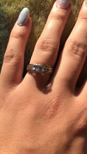 Silver and sapphire promise ring