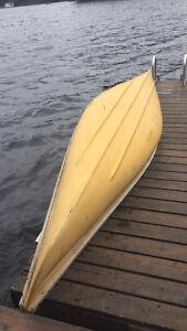 16' Yellow Fiberglass Canoe