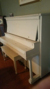 Upright Vintage 1930 's Painted Piano with Bench/ lift up top