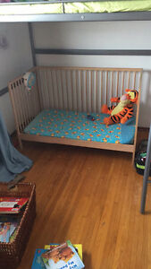 IKEA crib with mattress and changetable