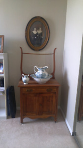 Antique wash stand and very old pitcher set