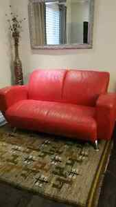 Red Leather sofa/loveseat from EQ3