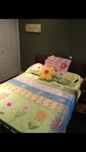 Pottery barn quilt, shams, pillow and wall hanging.