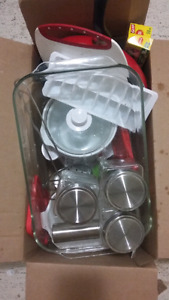 Box of kitchen supplies - all for $25 (inclds br new crock pot)