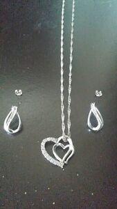 .25 CARAT DIAMOND HEART NECKLACE & EARRINGS