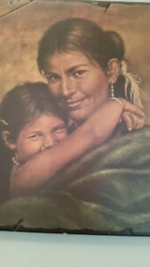 2 old Native wood pictures
