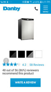 Like New,Danby Designer 4.3 Litre Compact Refrigerator, like new
