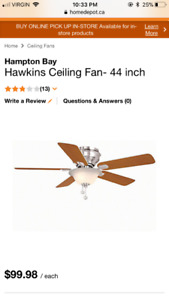 2 - Hampton Bay Hawkins 44 in Ceiling Fans
