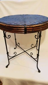 Wrought Iron and Cane Top side table