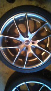"""4 17"""" inch rims and tires for honda civic NICE!!"""