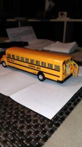Toy School Bus Yellow, doors open and close 8 inch Brampton