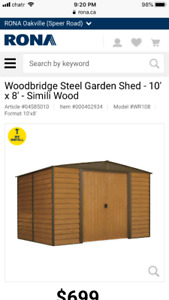 Garden shed Metal new (10*12) from Rona