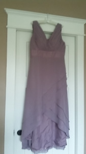 Custom made cocktail length dress suitable for wedding or prom.
