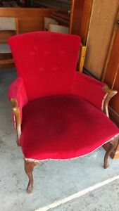 Vintage French Provincial Red Velvet Arm Solid Wood Chair