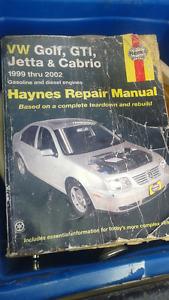 99-02 volkswagon  golf , gti, jetta, cabrio repair manual