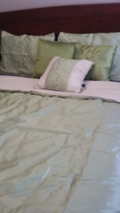 7 PIECE QUEEN COMFORTER SET & CURTAINS - LIKE NEW