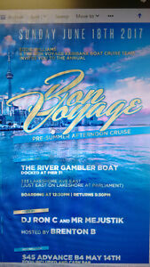2 Tickets BON VOYAGE Boat Cruise Father's Day June 18th Toronto