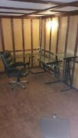 Glass desk, glass printer stand, office chair and TV stand