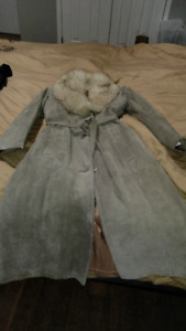 Suede coat with fox collar, size M