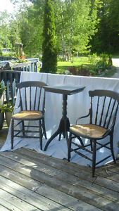 VINTAGE CANED CHAIRS AND SIDE TABLE