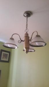 Magnifique Chandelier/ Abat-jour Verre givré / 3 Ampoules