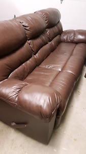 Brown leather, double recliner