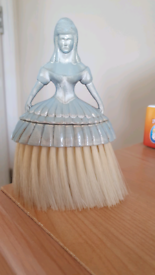 Vintage Crinoline Lady Table Crumb Brush half blue doll. Condition is