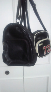 ROOTS Leather Backpack Handbag plus purse included.  2 for 1.