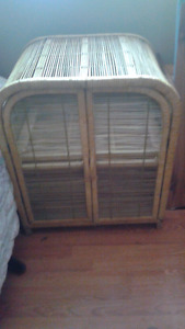 Wicker cabinet and accent table $ 15 each