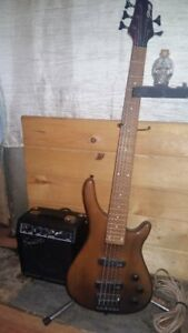 Stagg 5 String Bass with Fender Squire 10 Amp
