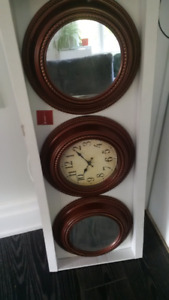 Brand New Decorative Vintage Look Clock and Mirrors Set