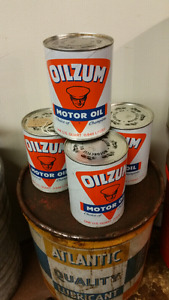 Vintage Oil Can Tin Motorcycle Advertising Oilzum New Old Stock