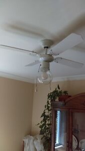 """Ceiling fan with light, white, 13"""" blades, pull chain operation"""
