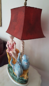 Porcelain Lady figurine on a Chariot Dolphins Lamp