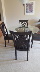 "48"" Round Glass Top Table & 4 Chairs"