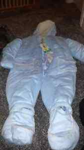Never used snow suit faux suede unisex: 18-24 mths