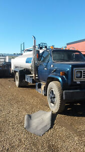 1989 Blue GMC Single Axle Water Truck with Hoses