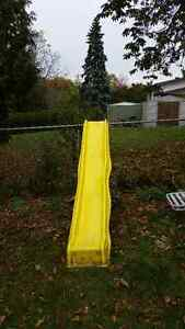 Play structure slide and swing -- yellow