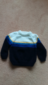 """New Hand knitted boys jumper 6-12 mths 22 """" chest"""