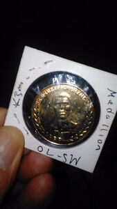 1978 ALI / SPINKS  BATTLE OF NEW ORLEANS 24 KT  GOLD PLATED COIN