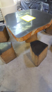 Basalt Table with 6 stools