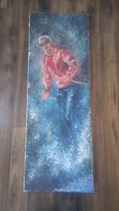 Belle Toile Peinture Art Painting Skieur Skier Ski
