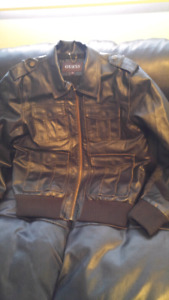 GUESS Men's Leather Winter Jacket