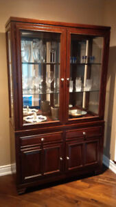Solid Wood Hutch Dining Room Display Cabinet