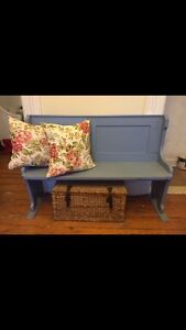 Antique Distressed Chapel Pew in Periwinkle