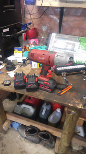 "Milwaukee 28v 1/2"" impact with 3 batteries"