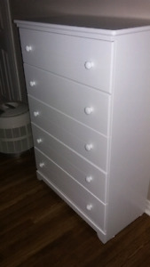 White  Five  Drawer  Dresser