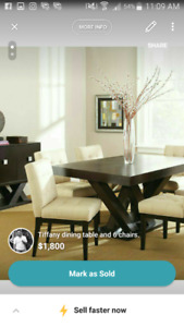 Tiff any dining table with 6 chairs