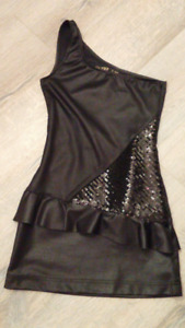 Brand New Black One Shoulder Faux Leather Peplum Dress (w/tag)